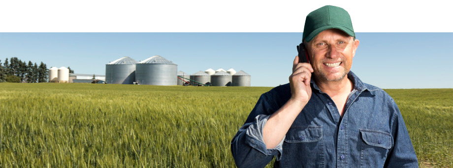 Farmer on phone